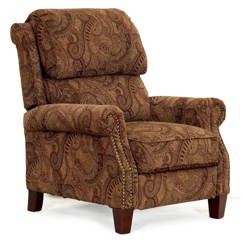 LDI 689  Transitional High Leg Recliner with Push Thru Arms
