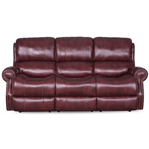Synergy Home Furnishings Manor Power Reclining Sofa with Nailhead Trim