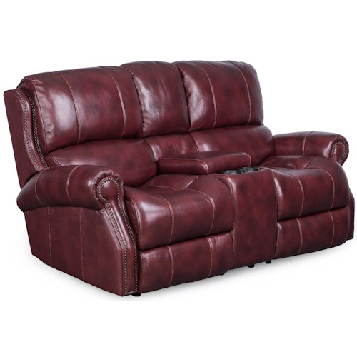 Synergy Home Furnishings Manor Gliding Loveseat with Storage Console