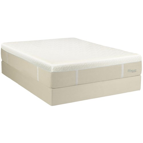 Tempur-Pedic® TEMPUR-Cloud® Luxe Breeze Queen Ultra Soft Mattress and Grey Low Profile Foudnation