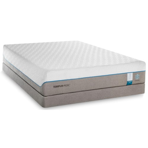 Tempur-Pedic® TEMPUR-Cloud Supreme Breeze 2 Twin Extra Long Soft Mattress and Grey Low Profile Foundation
