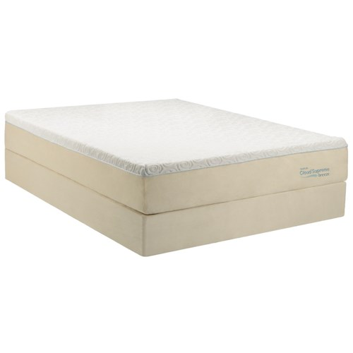 Tempur-Pedic® TEMPUR-Cloud®  Supreme Breeze Twin Extra Long Soft Mattress and Ecru High Profile Foundation
