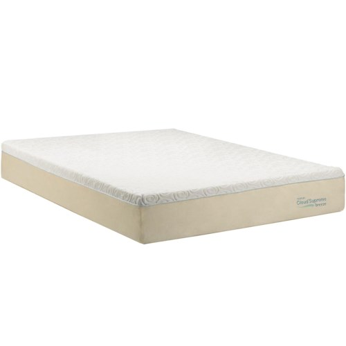 Tempur-Pedic® TEMPUR-Cloud®  Supreme Breeze Cal King Soft Mattress and Tempur-Up Grey Foundation