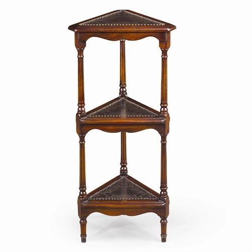 Theodore Alexander Bookcases Engraved 3 Tier Corner Etagere Display Bookcase