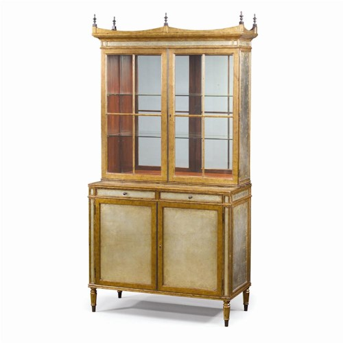 Theodore Alexander Bookcases Silvered & Gilt Verre Eglomise Display Cabinet