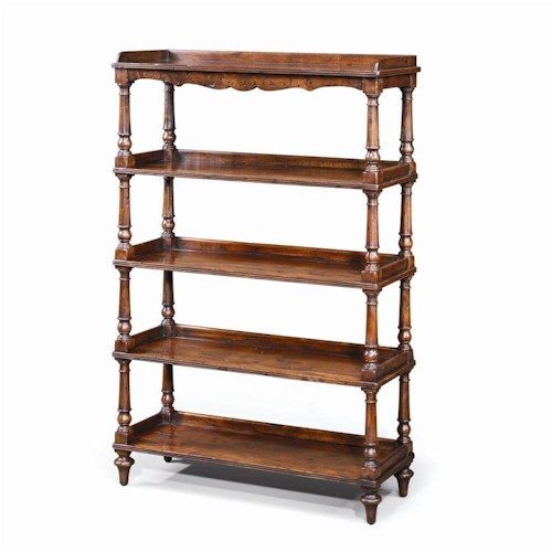 Theodore Alexander Bookcases Antiqued Wood 5 Tiered Etagere Display Bookcase