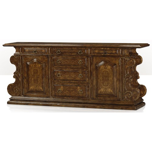 Theodore Alexander Cabinets and Sideboards Traditional Renaissance Oak and Burl Buffet