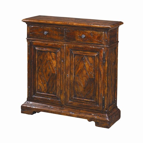 Theodore Alexander Cabinets and Sideboards Traditional 2 Drawer 2 Door Antique Wood Side Cabinet