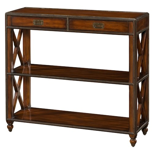 Theodore Alexander Campaign Brass Banded Etagere Table