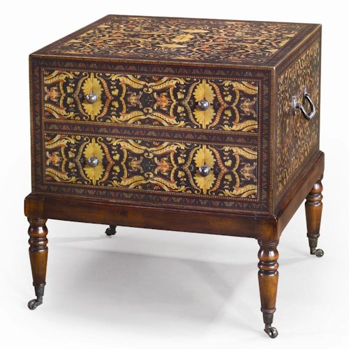 Theodore Alexander Chest of Drawers Decoupage Bedside Chest/ Lamp Table with Casters & 2 Drawers