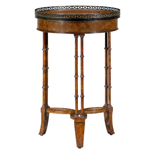 Theodore Alexander Classic yet Casual Round Lamp Table with Brass Gallery Top