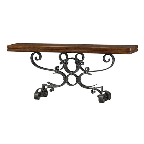 Theodore Alexander Classic yet Casual Iron Console Table with Scroll Base