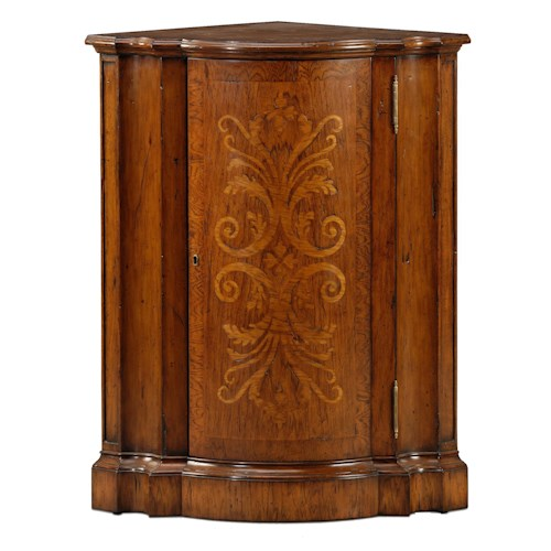 Theodore Alexander Classic yet Casual Corner Cabinet with Floral Inlaid Door
