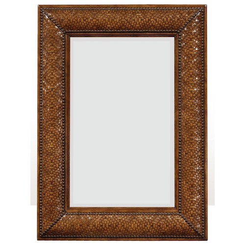 Theodore Alexander Mirrors Victorian Woven and Studded Wall Mirror with Leather Inlay