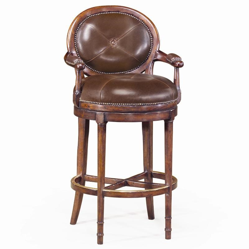 Theodore Alexander Seating Leather Oval Back Barolo Bar