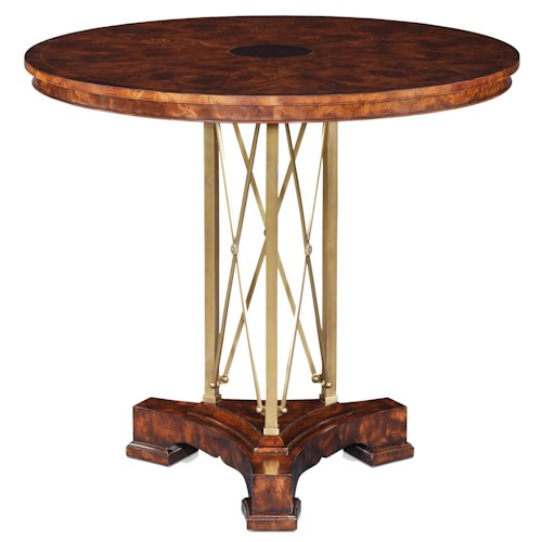 Theodore Alexander Tables Empire Mahogany Hall Table with Brass Pedestal