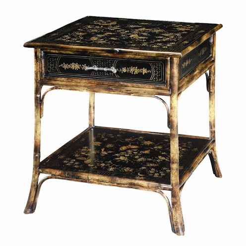 Theodore Alexander Tables 1 Drawer Bamboo Square End Table