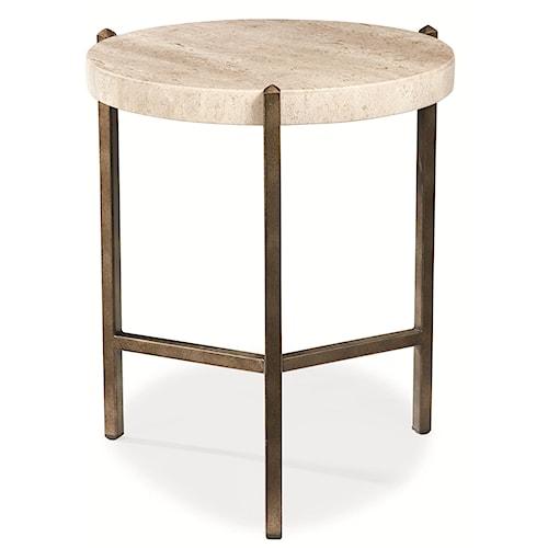 Thomasville® Cachet Round Lamp Table w/ Travertine Stone Top