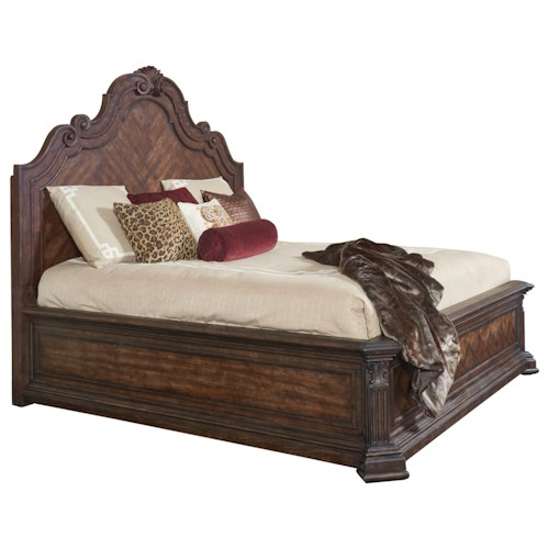 Thomasville® Casa Veneto Corina Queen Bed with Arch Carved Panel Headboard