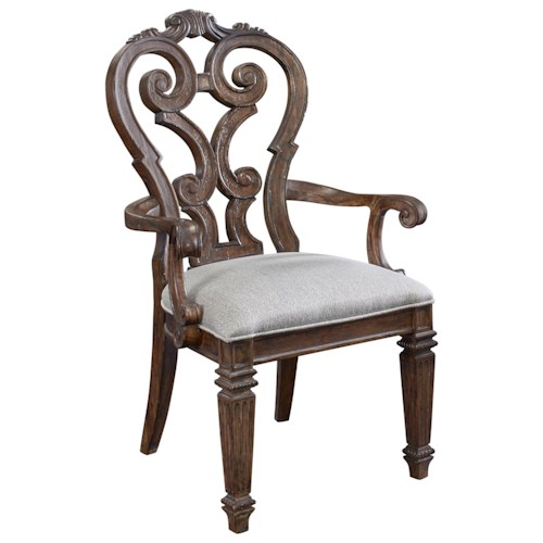 Thomasville® Casa Veneto Stella Splat Back Arm Chair with Light Gray Upholstery