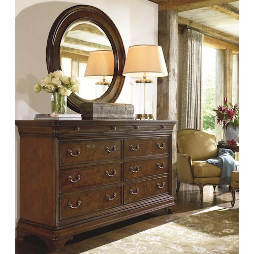 Thomasville® Deschanel Drawer Dresser w/ Round Mirror