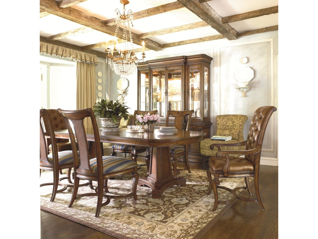 Shown in Room Setting with Double Pedestal Table, Side Chairs and Upholstered Arm Chairs