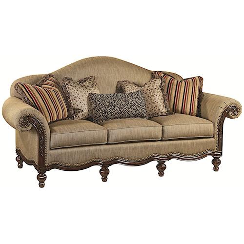 Thomasville® Ernest Hemingway 462 Pauline Camel Back Sofa with Exposed Wood Trim