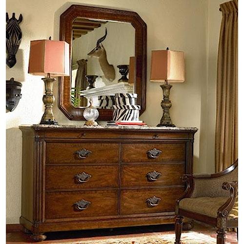 Thomasville® Ernest Hemingway  Malawi Dresser w/ Marble Top and Landscape Mirror