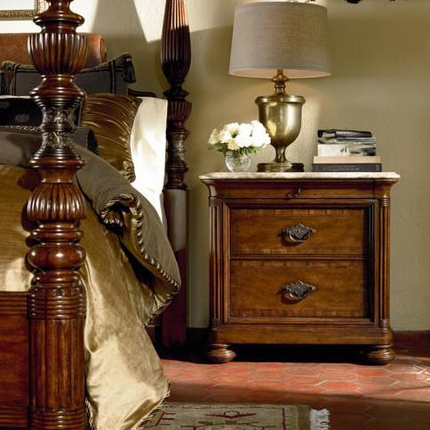Nairobi Nightstand Shown with Thompson Falls Poster Bed