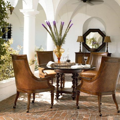 Preserve Buffet Shown in Room Setting with Steppe Octagonal Mirror, Valencia Chairs and Pepica Table