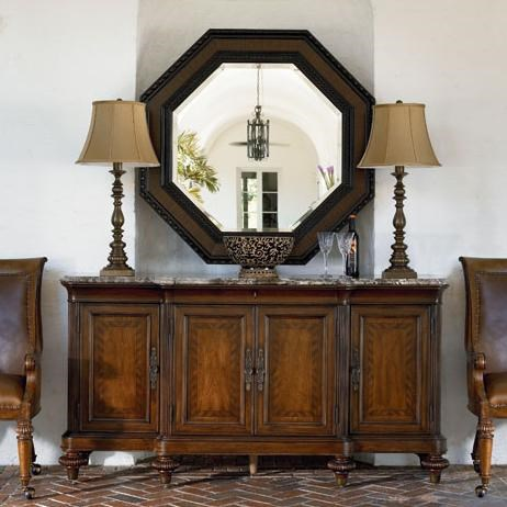 Preserve Buffet Shown in Room Setting with Steppe Octagonal Mirror