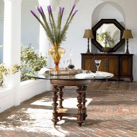 Pepica Table Shown in Room Setting with Preserve Buffet and Steppe Octagonal Mirror