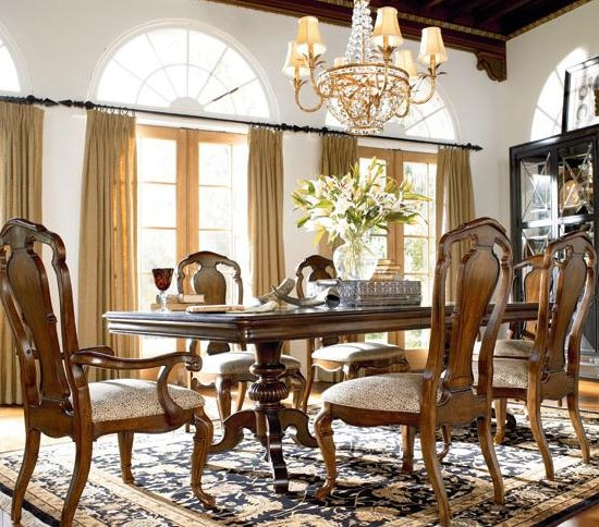 Castillian Double Pedestal Table Shown with Granada Side and Arm Chairs