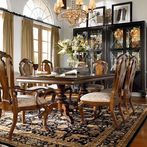 Granada Side Chair Shown in Room Setting with Castillian Double Pedestal Table, Arm Chair and Masai Curio China