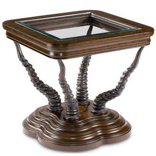 Thomasville® Ernest Hemingway  Trophy Horn Table w/ Glass Insert Top