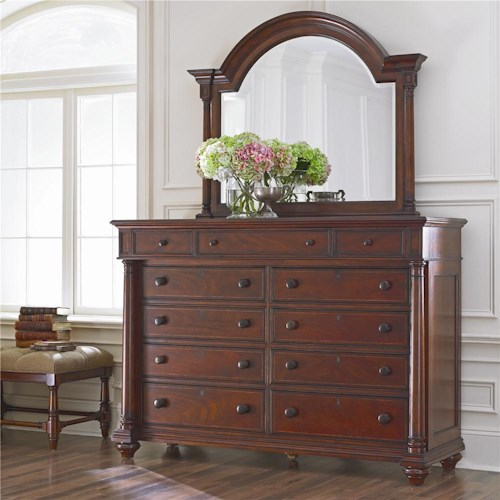Thomasville® Fredericksburg Dressing Chest and Landscape Beveled Mirror Combination
