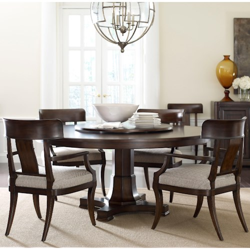 Thomasville® Harlowe & Finch Five Piece Adelaide Dining Set with Lazy Susan