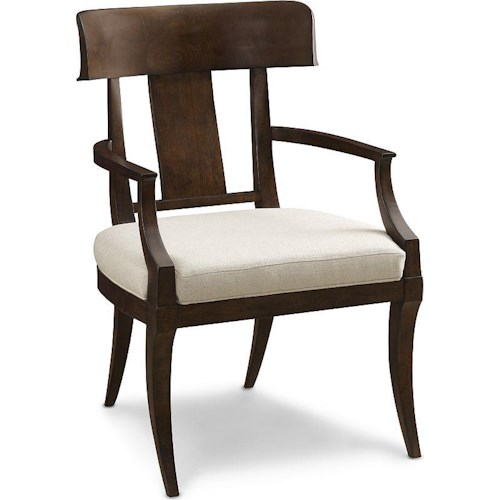 Thomasville® Harlowe & Finch Mykonos Arm Chair with Klismos Back and Upholstered Seat