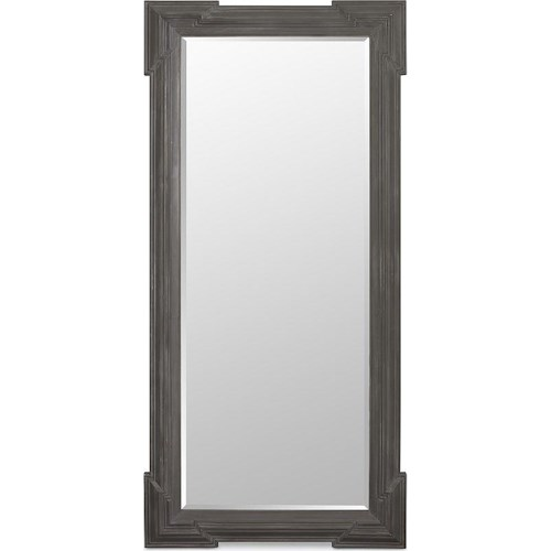 Thomasville® Harlowe & Finch Transitional Beveled Wood Floor Mirror Wrapped in Zinc