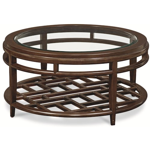 Thomasville® Lantau Round Coffee Table w/ Wood Framed Glass Top