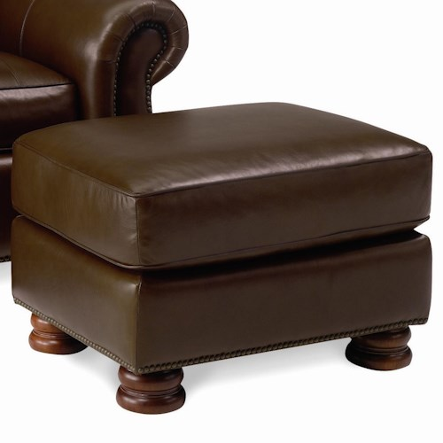 Thomasville® Leather Choices - Benjamin Leather Select Ottoman with Bun Feet