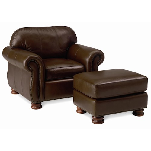 Thomasville® Leather Choices - Benjamin Leather Select Arm Chair and Ottoman Set