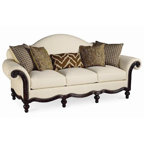 Thomasville® Pauline  Camel Back Sofa with Wood Base