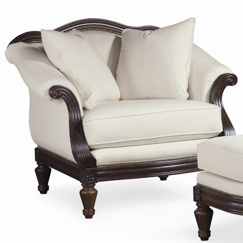 Thomasville® Sorrento  Classic Arm Chair with Exposed Wood Accents