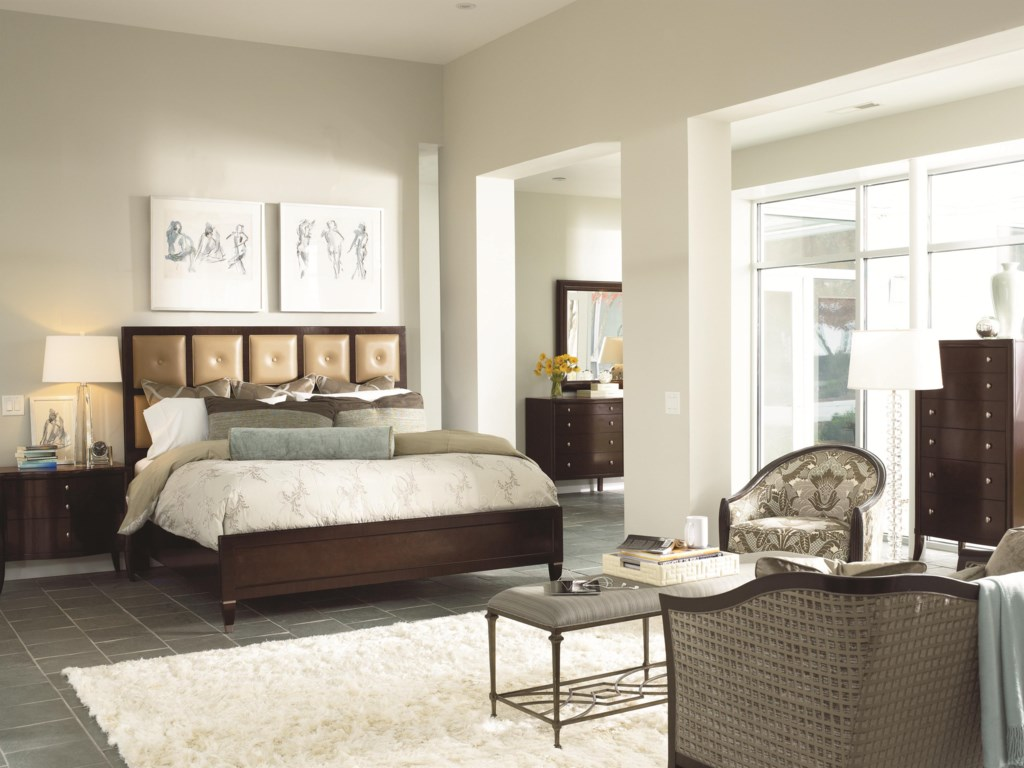 Shown in Room Setting with Nightstand, Leather Panel Bed, Mirror and Bench