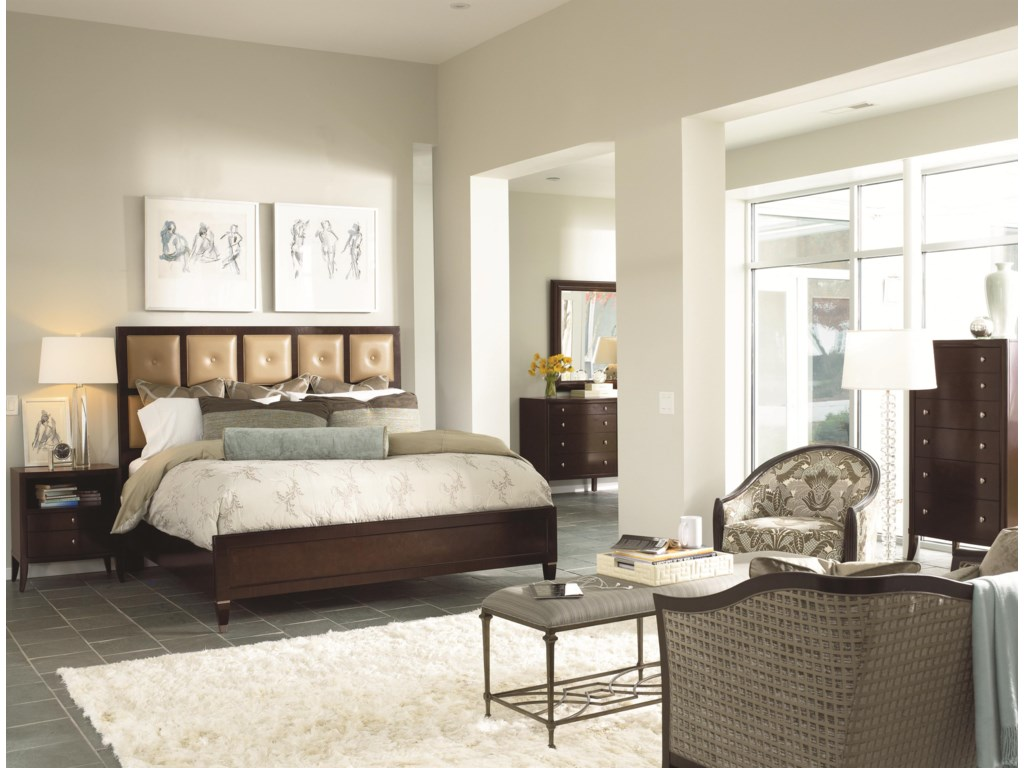 Shown in Room Setting with Nightstand, Leather Panel Bed, Dresser and Mirror
