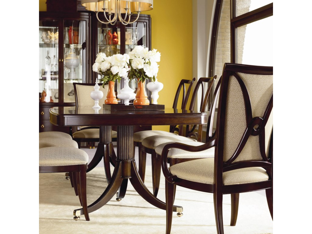 Shown with Double Pedestal Dining Table, Side Chairs, and Upholstered Arm Chairs