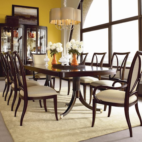 Thomasville® Studio 455 Nine Piece Double Pedestal Table Dining Set