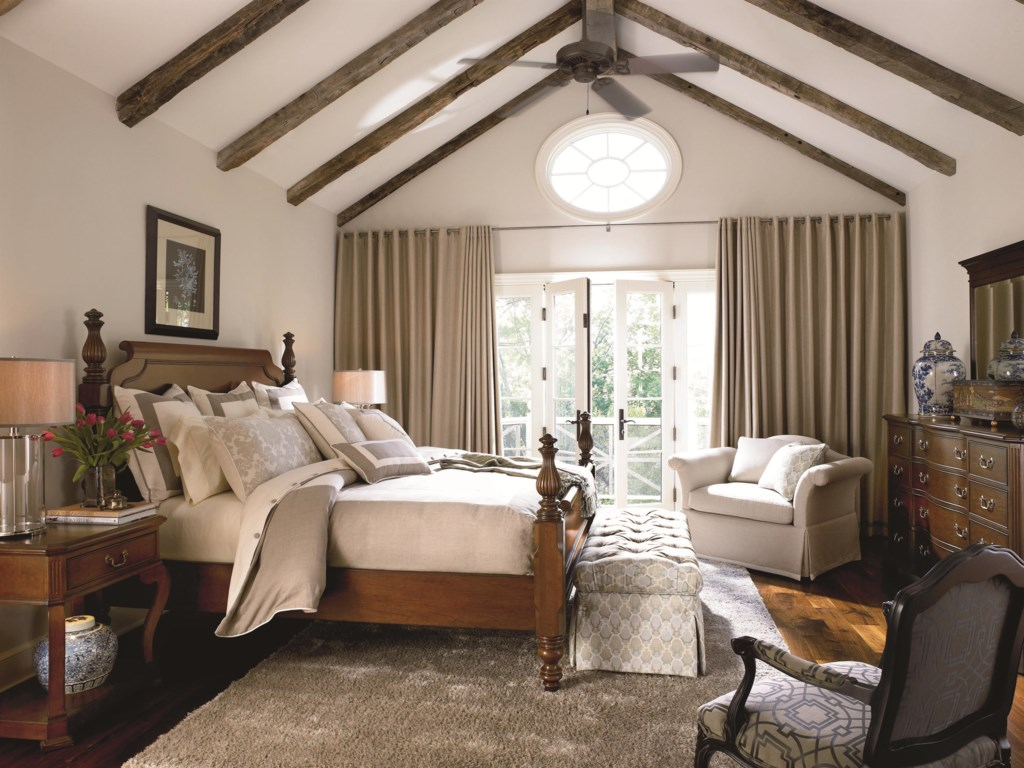 Shown in Room Setting with Nightstand, Poster Bed and Mirror