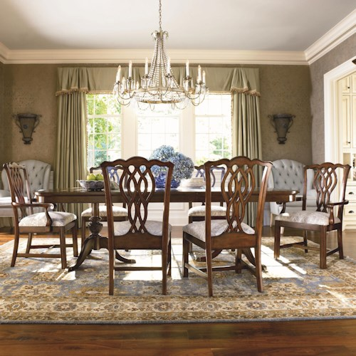 Thomasville® Tate Street 7 Piece Double Pedestal Dinner Table and Chair Set